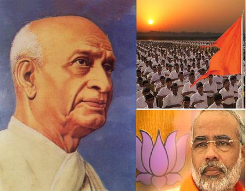 Sardar Patel,  Bhagwa flad and Narendra Modi