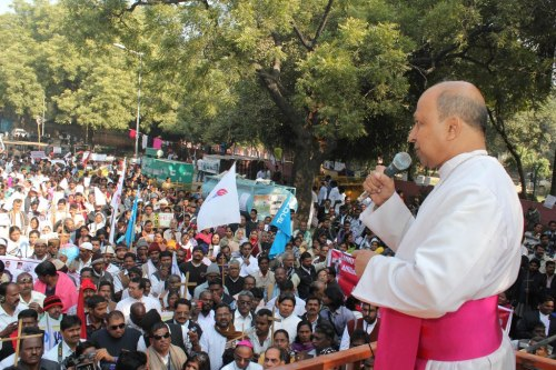 Archbishop Anil Couto of Delhi addressing the gathering
