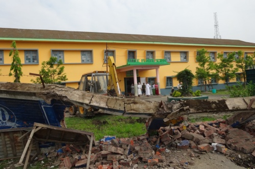Demolished wall of Little Flower School Imphal