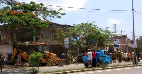 Demolition squad outside LFS, Imphal