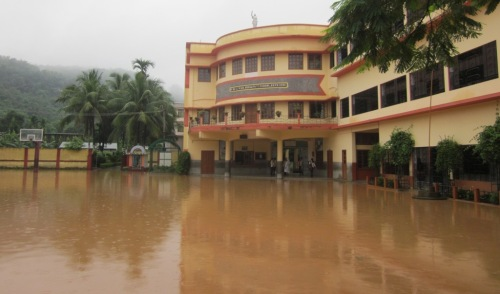 St Mary's Maligaon campus under water