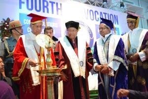 L to R : Assam Chief Minister Shri Tarun Gogoi, Governor of Assam and Visitor to the University Shri Padmanabha Balakrishna Acharya,ADBU Chancellor Fr Thomas Vattathara (VM), Vice Chancellor Dr Stephen Mavely at 4th Convocation Inaugural.