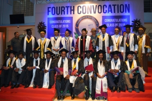 A group of foreign students from 13 countries with the governor at the convocation.