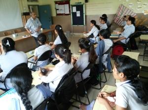Prof Nagarj addressing ADBU students.