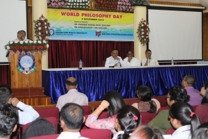 Prof Prosenjit Biswas addressing School of Social Sciences at ADBU Azara campus